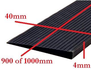 Drempelhulp 0,4 cm x 90cm, recht zwart zonder lijmlaag